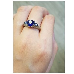 Blue Sapphire Flower and Petals Silver Ring
